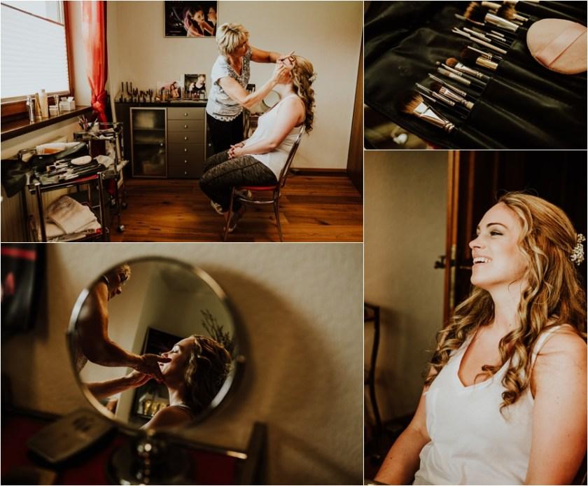 Kandleralm destination wedding in Austria bridal preparation Melanie get's her makeup done by Wild Connections Photography