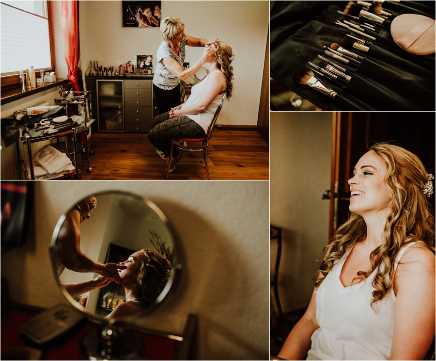 Kandleralm destination wedding in Austria bridal preparation Melanie get's her makeup done by Wild Connections Photography