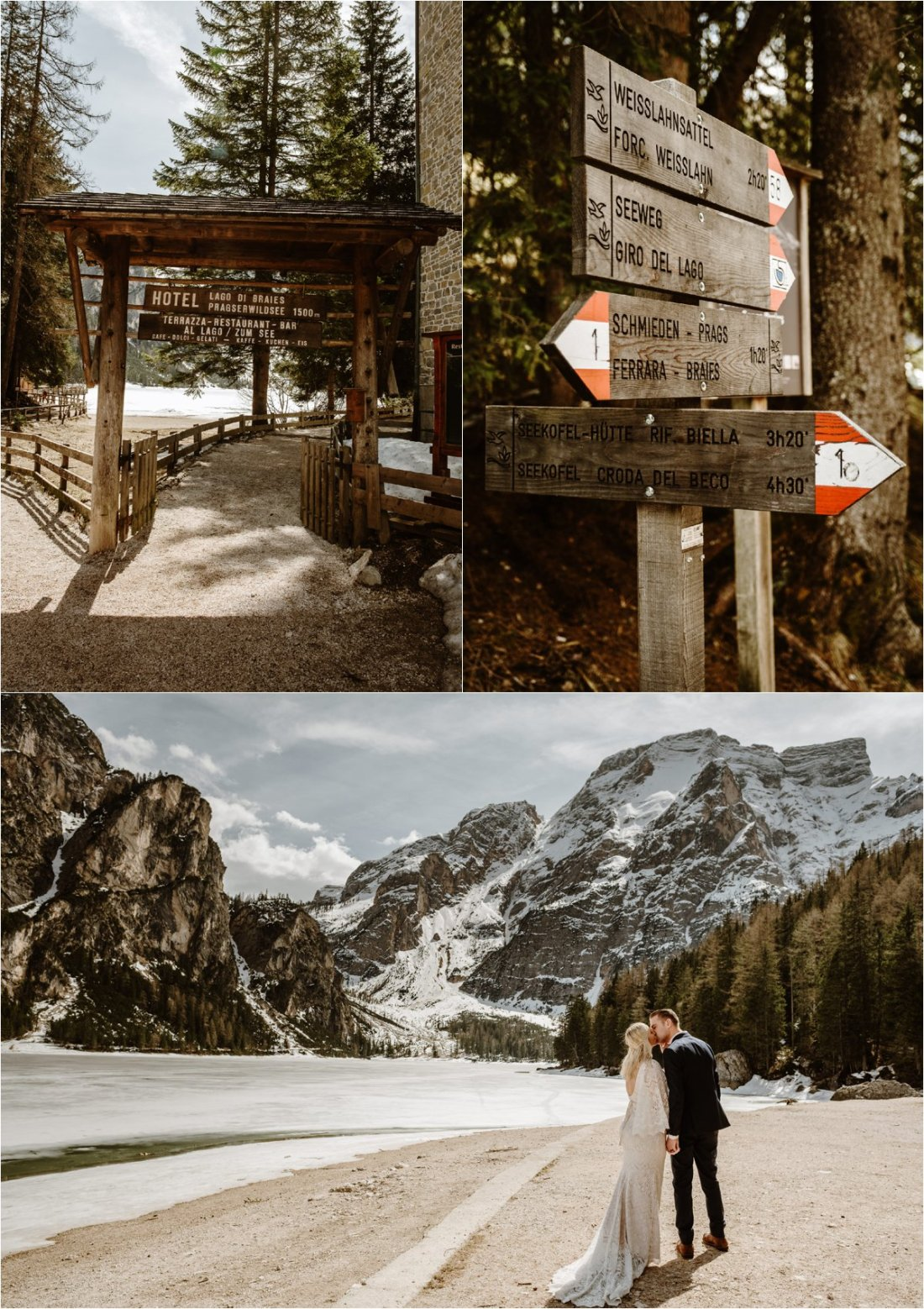 Erika & Nathan follow the footpath along the lake at Lago di Braies in the Italian Dolomites. Photos by Wild Connections Photography