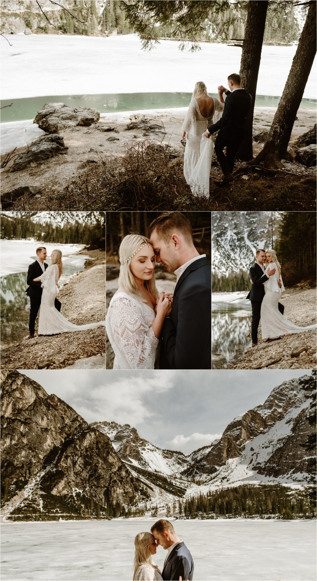 Erika & Nathan eloped at this stunning lake in the Italian Dolomites in Europe. Photos by Wild Connections Photography