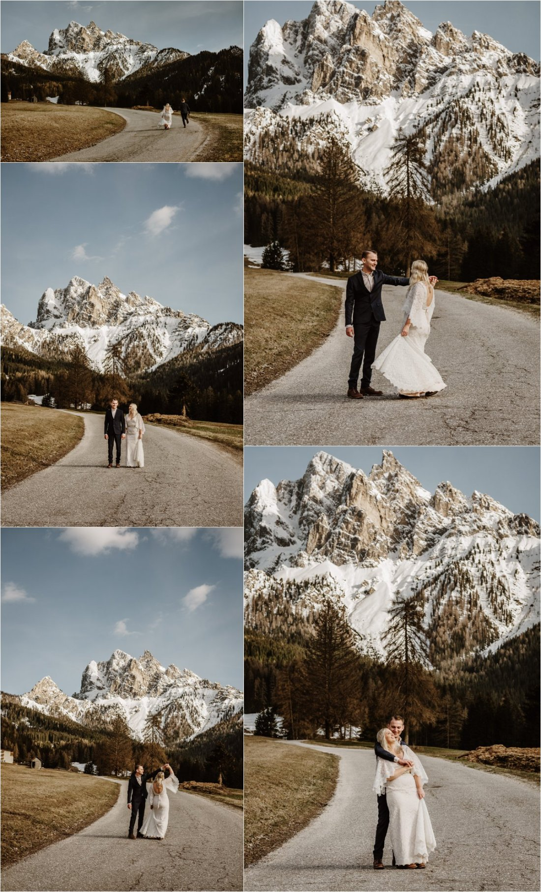Erika & Nathan dance on the mountain road on their wedding day. Photos by Wild Connections Photography - Alps & Dolomites Elopement Photographer