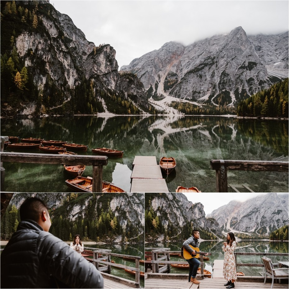 Jeremy surprises Katrina by singing her a song at Lago di Braies boathouse. Photos by Wild Connections Photography.