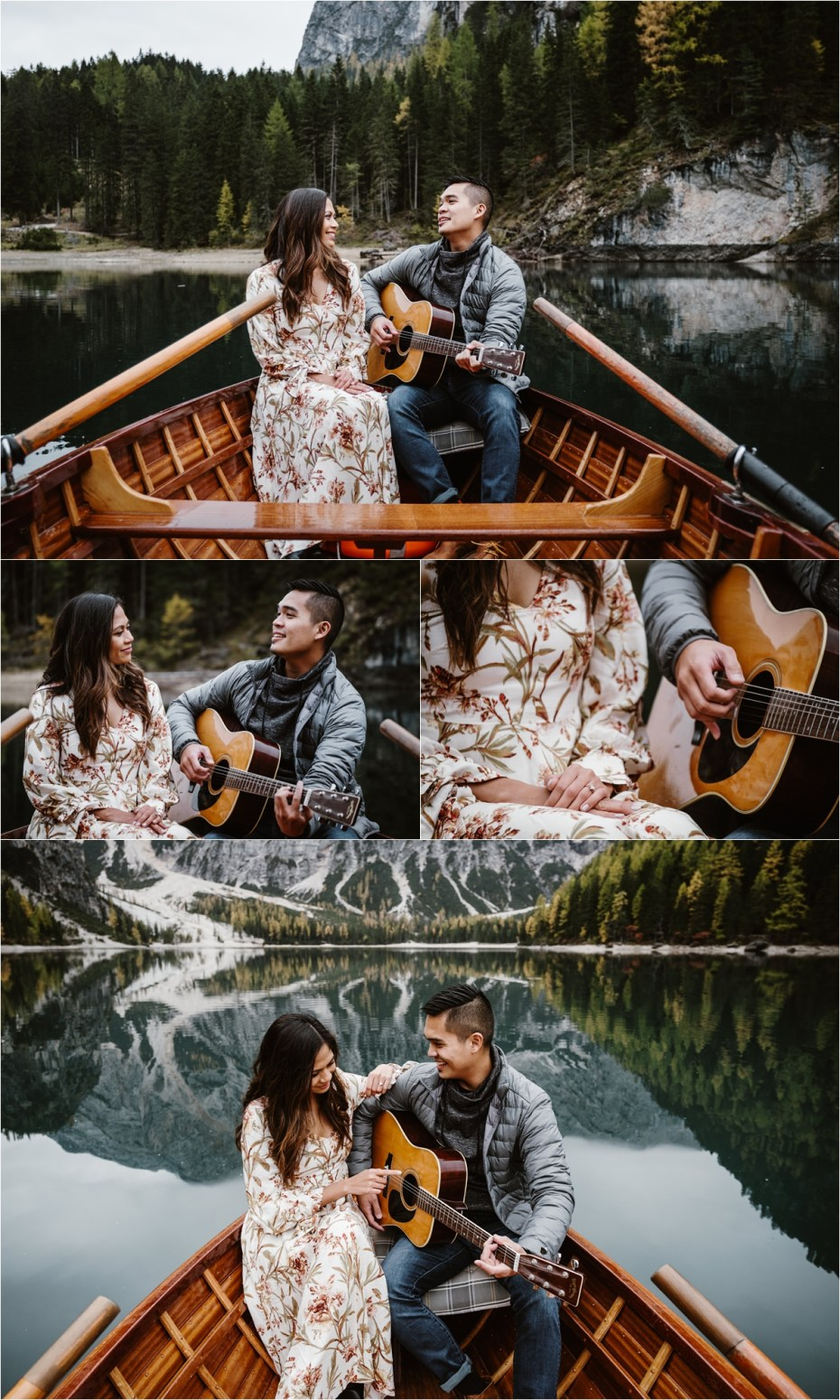 Jeremy plays his girlfriend a song in a rowing boat on Lago di Braies. Photos by Wild Connections Photography.