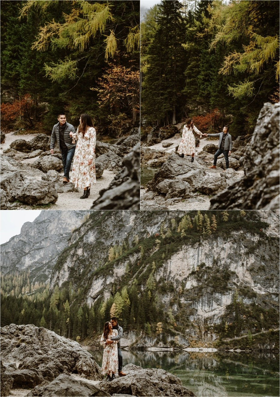 Fall engagement shoot in the Dolomites in Italy. Photos by Wild Connections Photography.