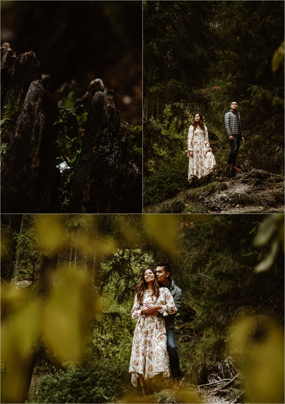 Engagement photos in the forest around Lago di Braies in the Dolomites. Photos by Wild Connections Photography.