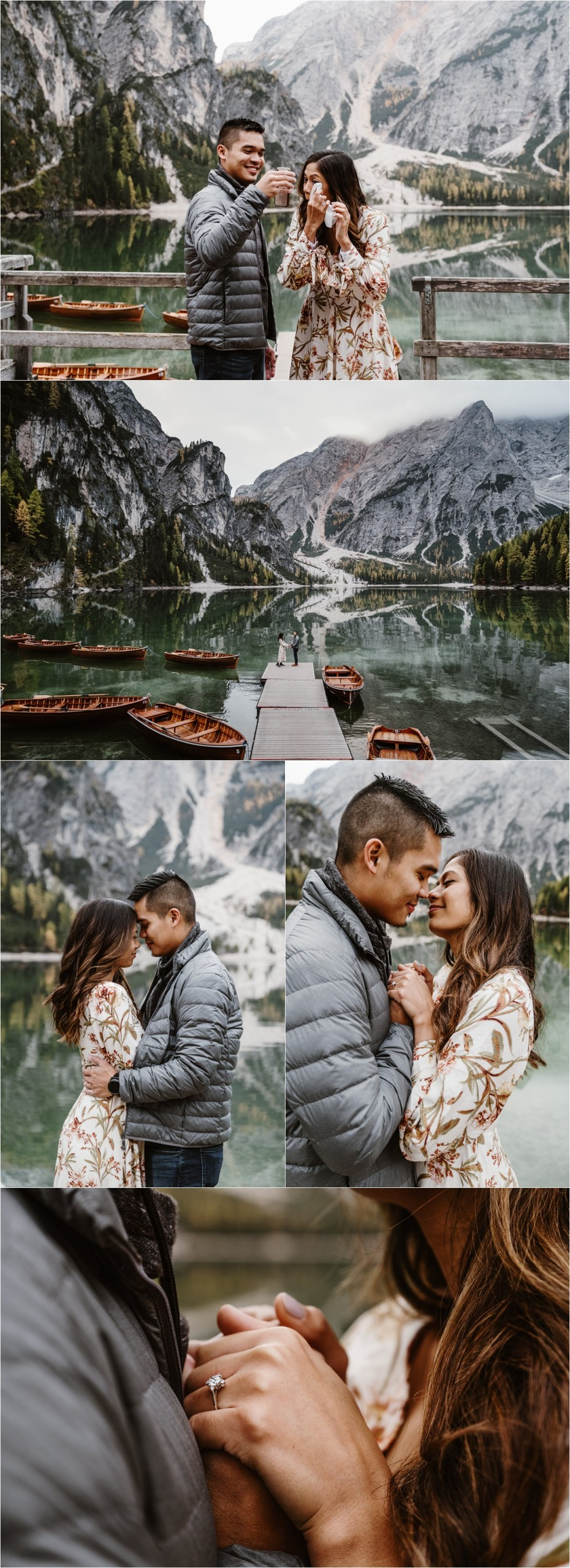Secret proposal and engagement photos on Lago di Braies in the Italian Alps. Photos by Wild Connections Photography.