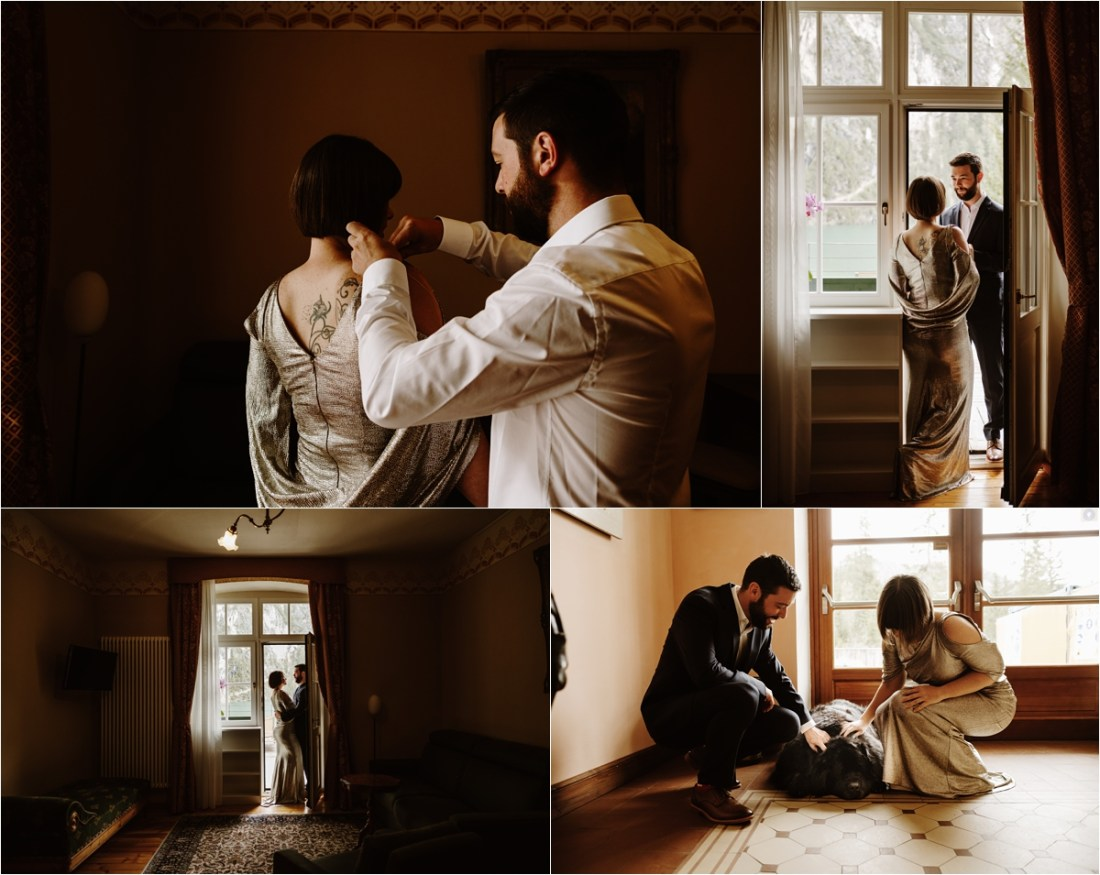 The bride and groom get ready in their hotel at Lake Braies. Photo by Wild Connections Photography