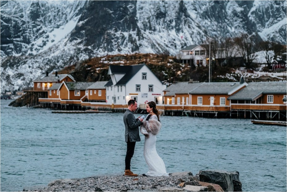 A winter elopement ceremony in the Lofoten Islands in Norway. Photo by Wild Connections Photography
