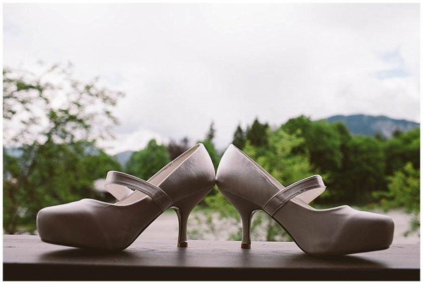 St Johann in Tirol Elopement Nikki's shoes sit on the balcony by Wild Connections Photography
