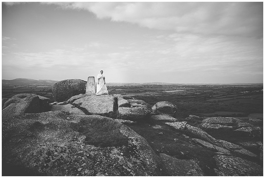 Wedding with Rescue Dogs -Black and white photo of the Bride in wedding dress standing on rocks at the top of mountain by Wild Connections Photography