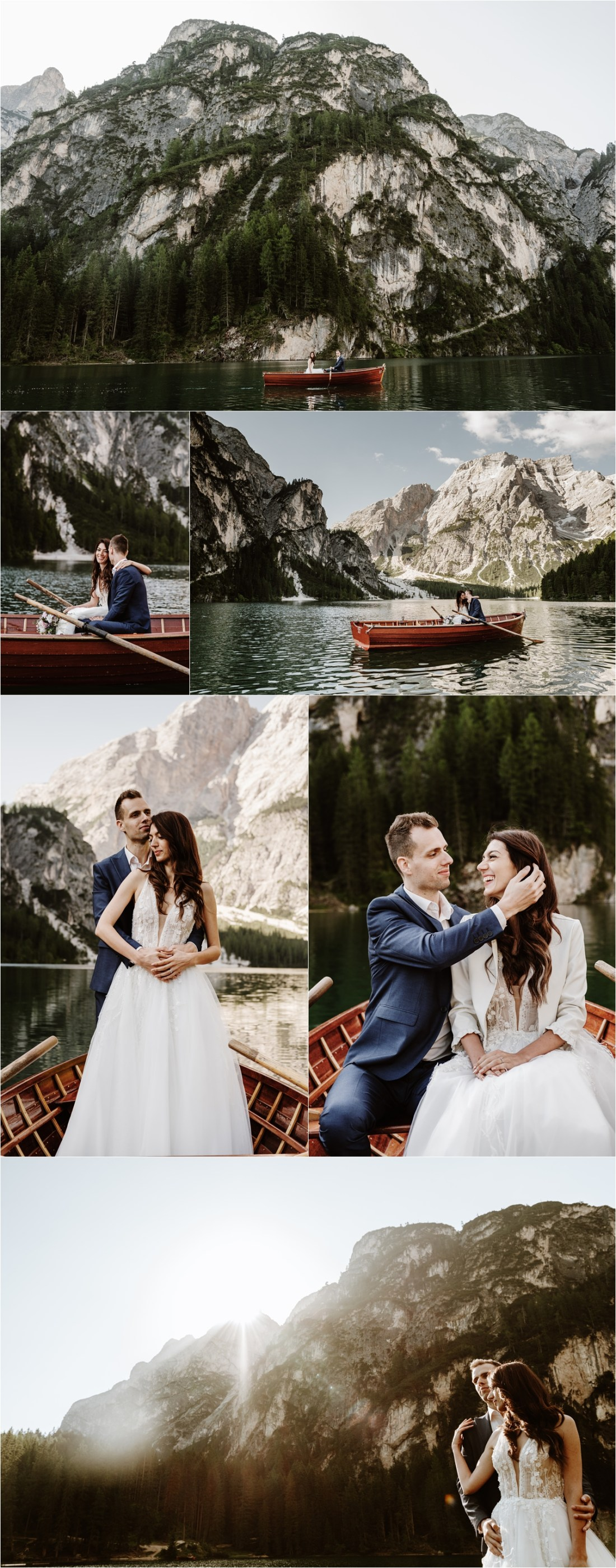 The bride and groom Patya & Tihomir go boating on Lake Braies. Photography by Wild Connections Photography