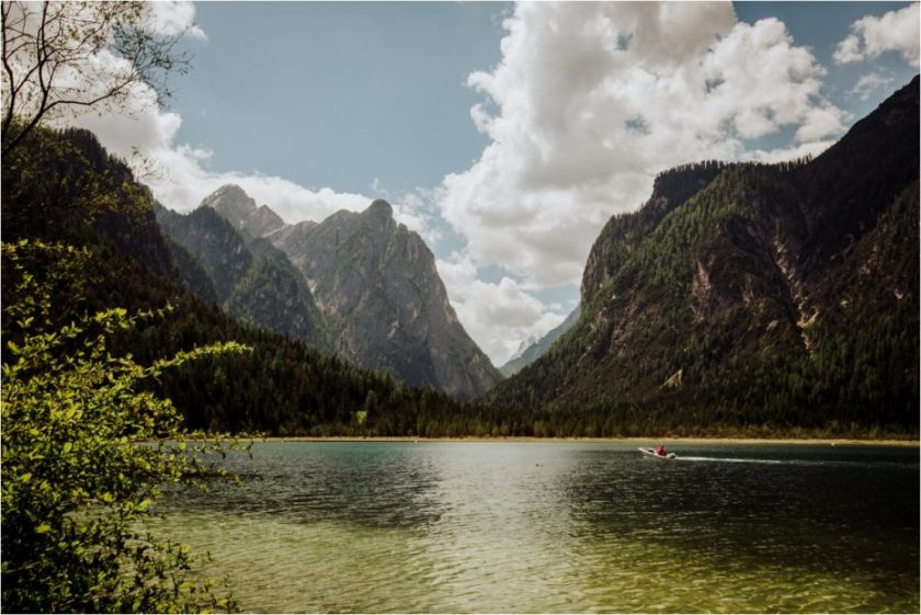 Mountain lake in the Dolomites in Italy