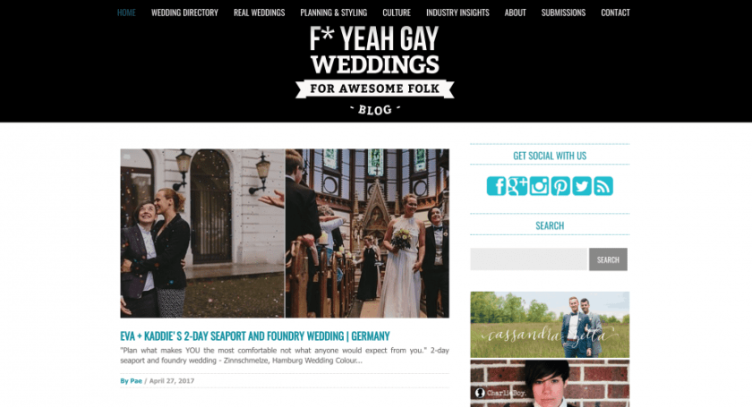 Screenshot of F* yeah gay weddings blog