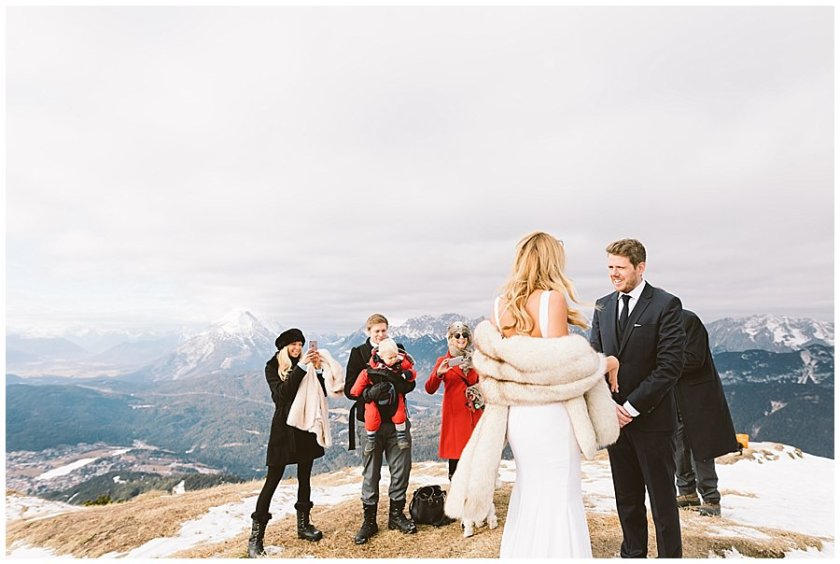 Seefeld Wedding Lee and Steph meet at the top of the mountain for their vow ceremony by Wild Connections Photography