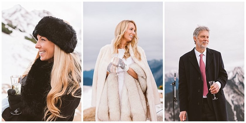 Portraits of the bride, her sister and father all smiling and laughing