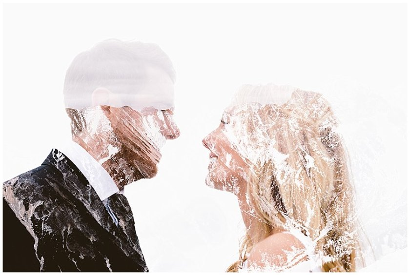 A double exposure of Steph and Lee looking at each other and the mountains