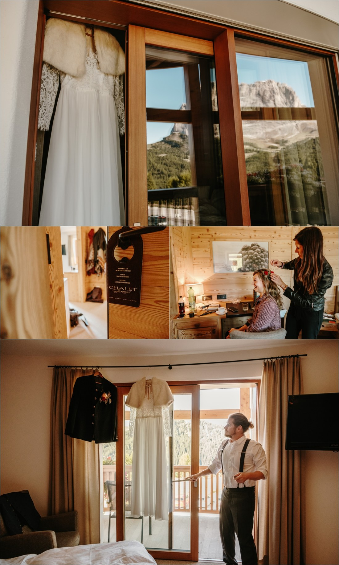 Anna & John getting ready for their elopement at Chalet Gerard in the Dolomites. Photos by Wild Connections Photography