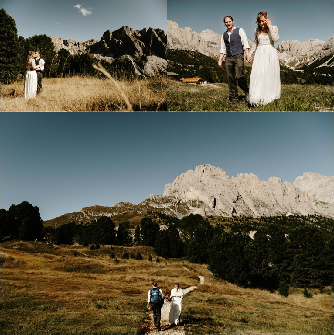 Romantic Dolomites elopement in the fall. Photos by Wild Connections Photography
