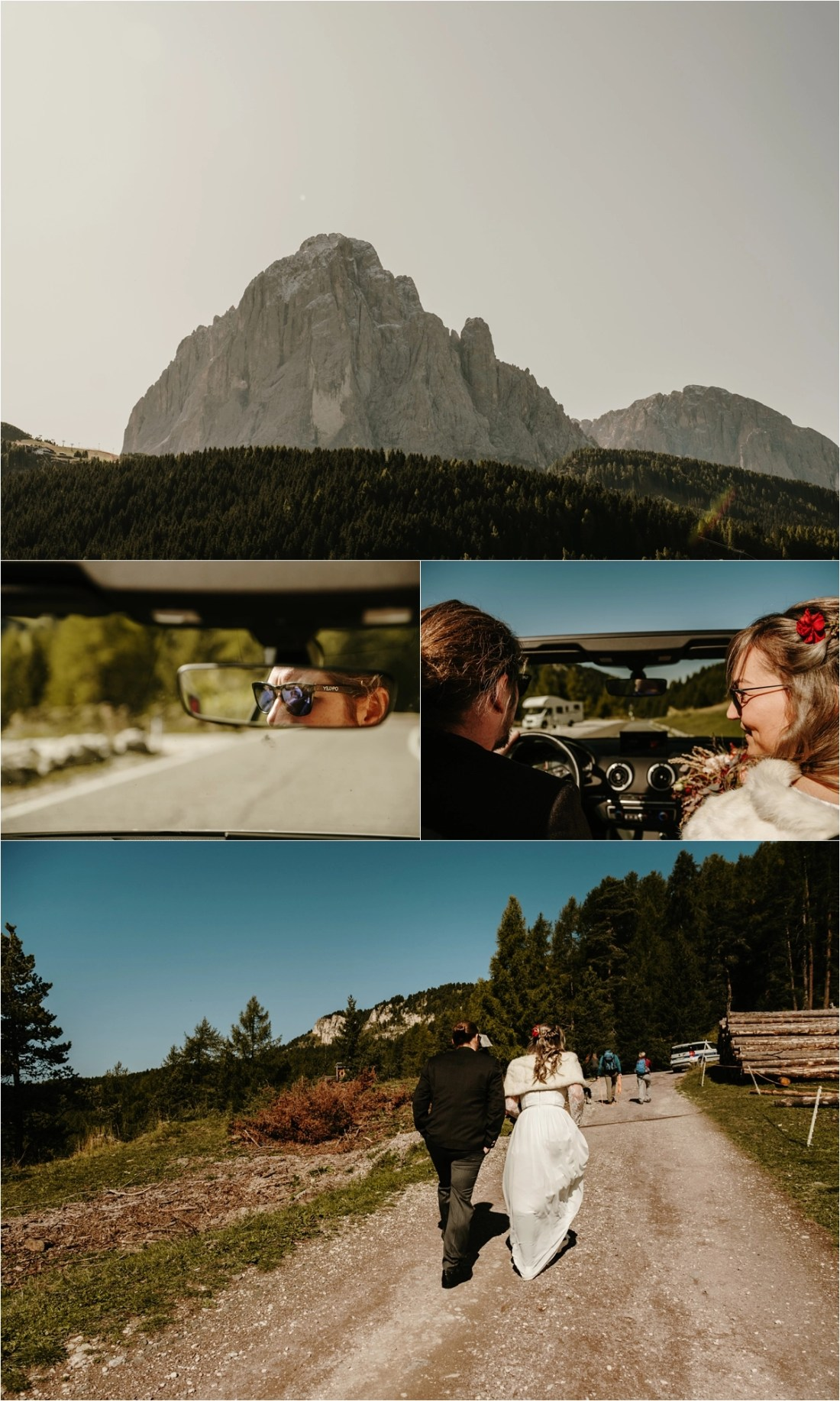 Bride and groom drive a white convertible in the Dolomites. Photos by Wild Connections Photography
