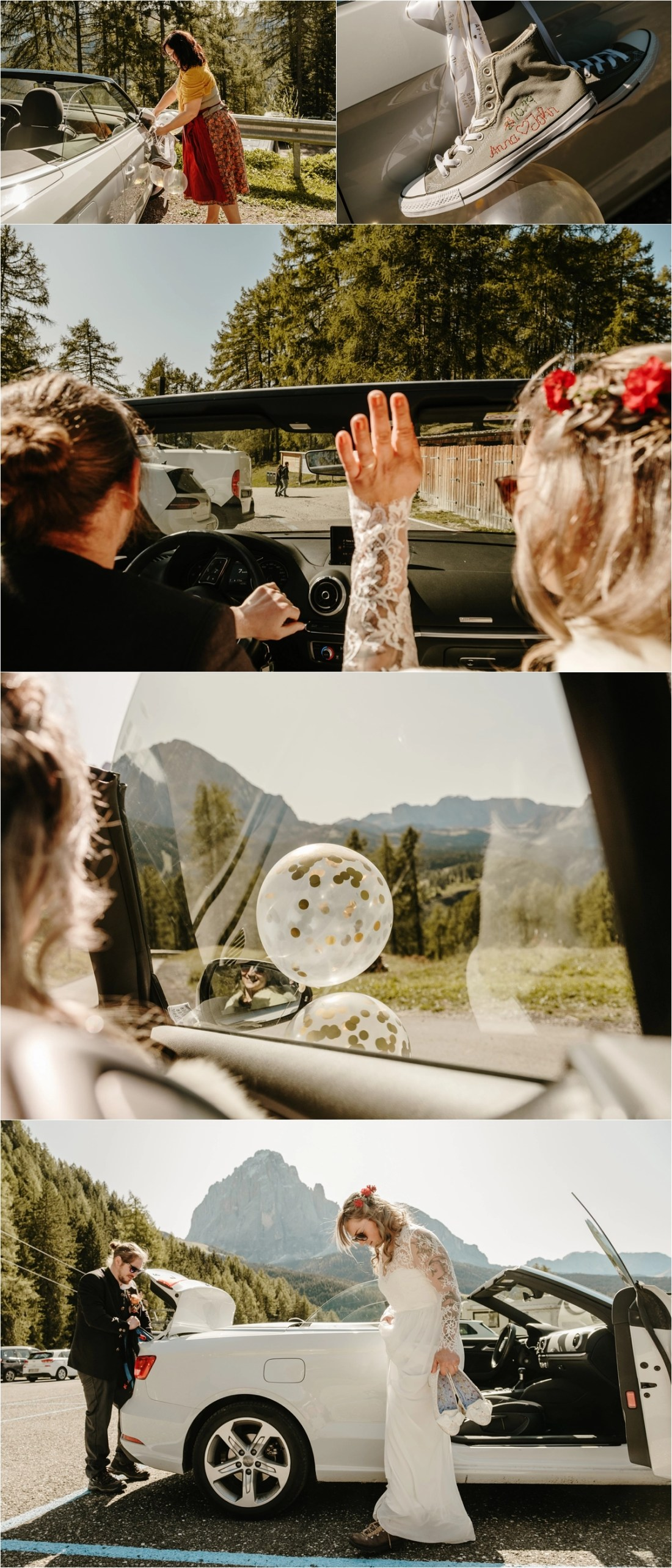 Bride & groom driving an open top convertible car on their elopement wedding day in the Dolomites. Photos by Wild Connections Photography