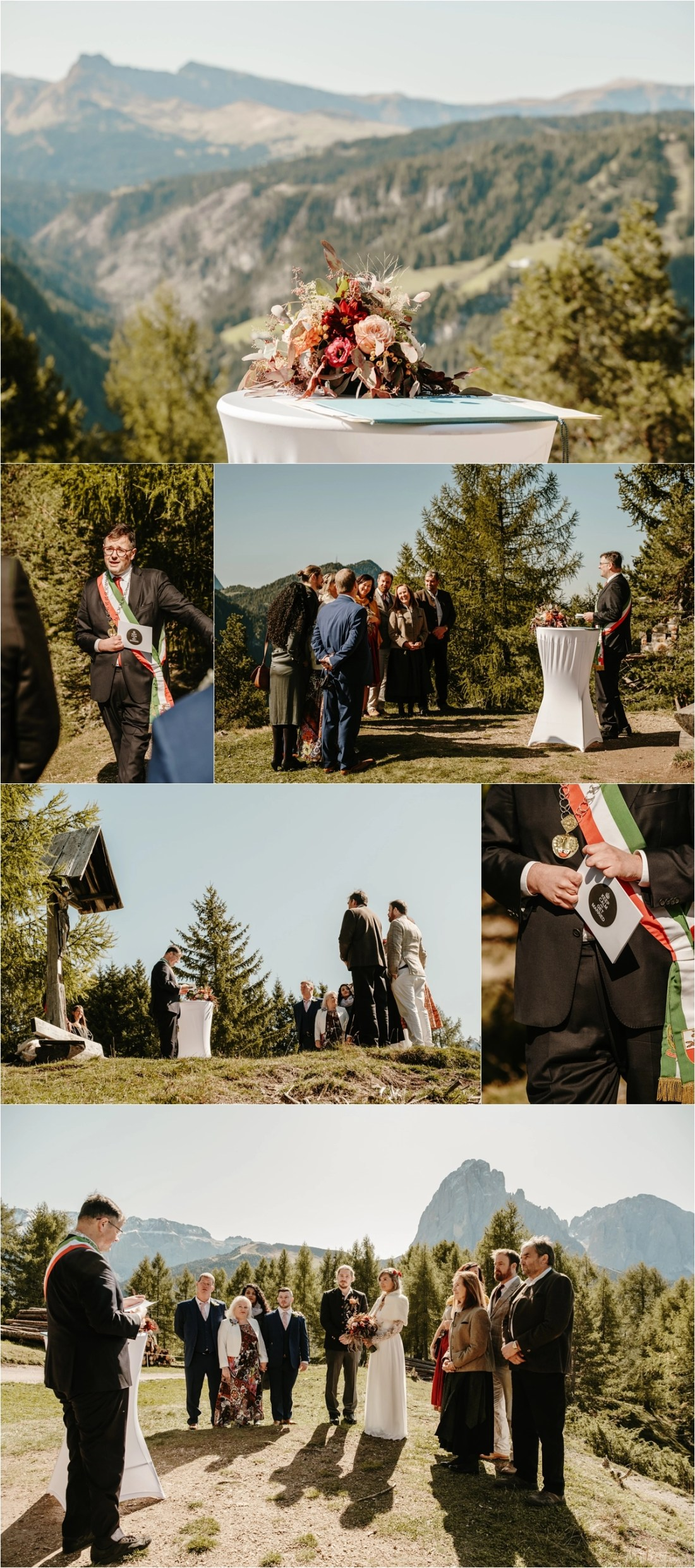 An outdoor Elopement ceremony in Selva Val Gardena. Photos by Wild Connections Photography