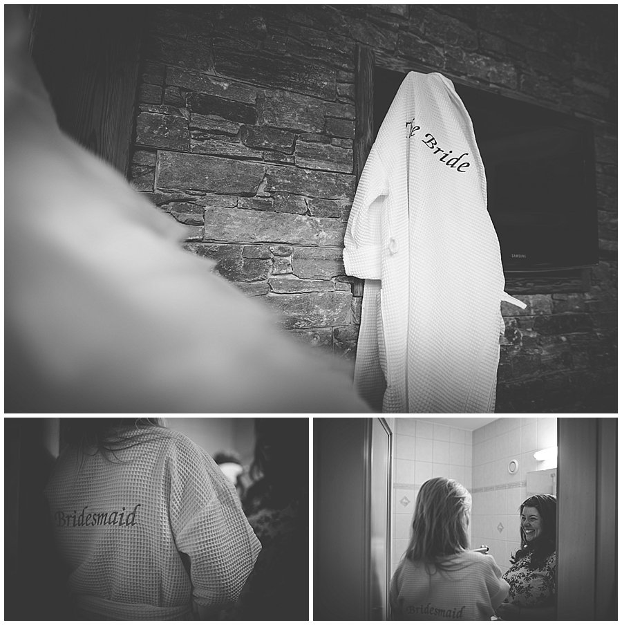 The bride dressing gown hangs in a hotel room