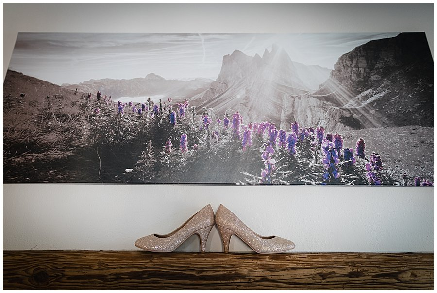 Glitter shoes on a wooden ledge with a mountain canvas picture on the wall