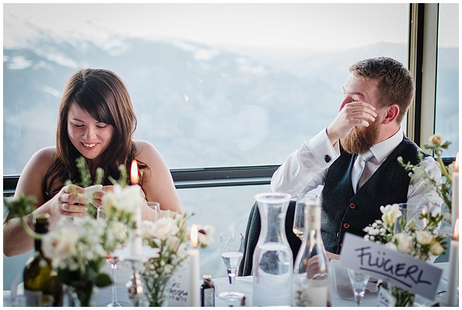 Bec and Dan cry with laughter at the speeches