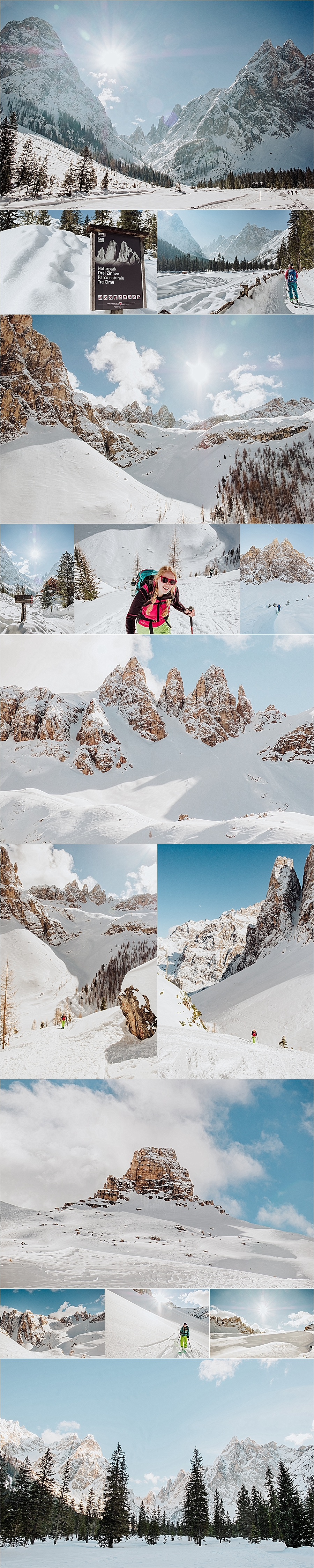 Ski touring in the Naturpark Drei Zinnen in the Dolomites with adventure wedding photographer Wild Connections Photography