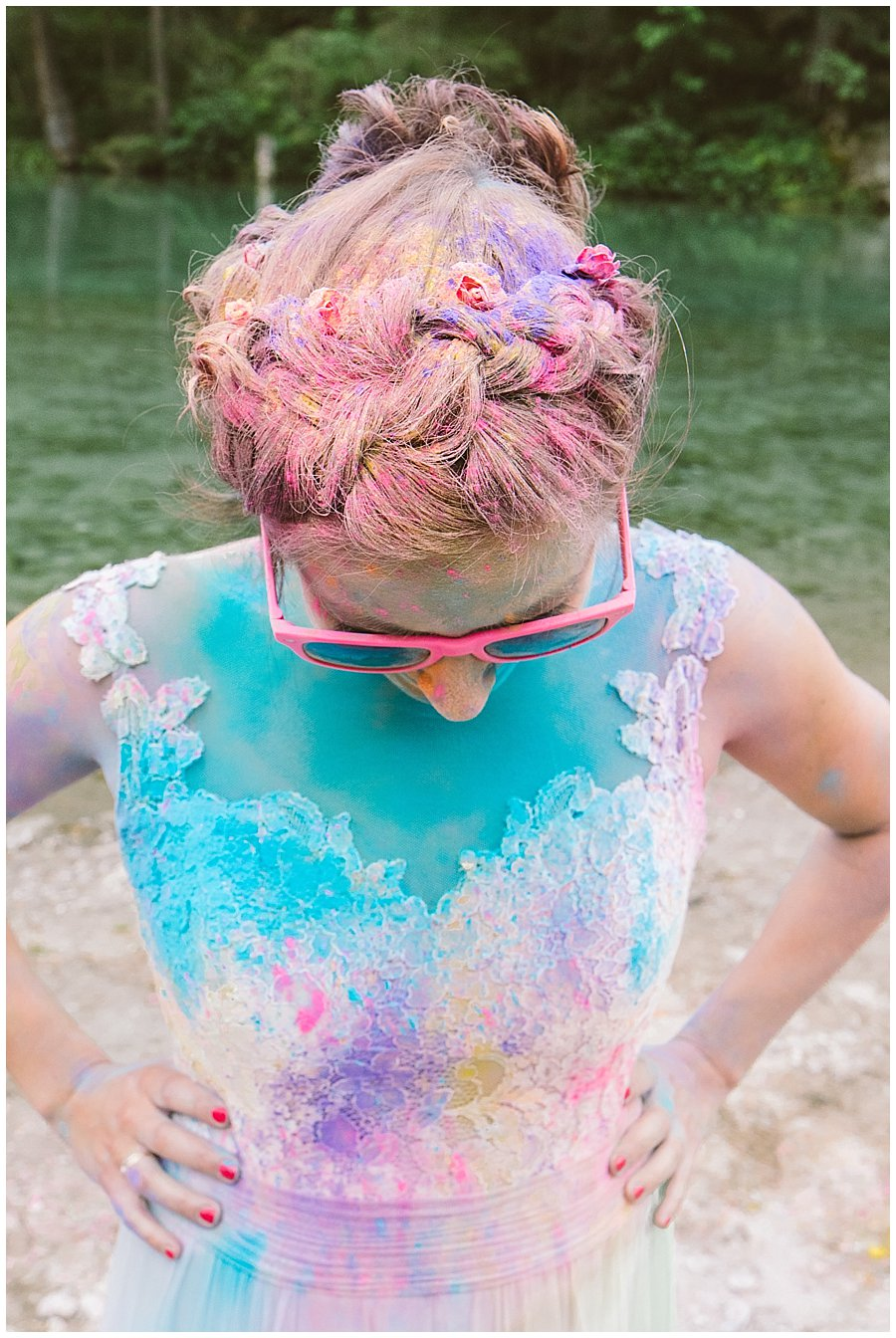 Trash The Dress Photo Shoot Austria - Bride wearing pink sunglasses covered in powder paint by Wild Connections Photography