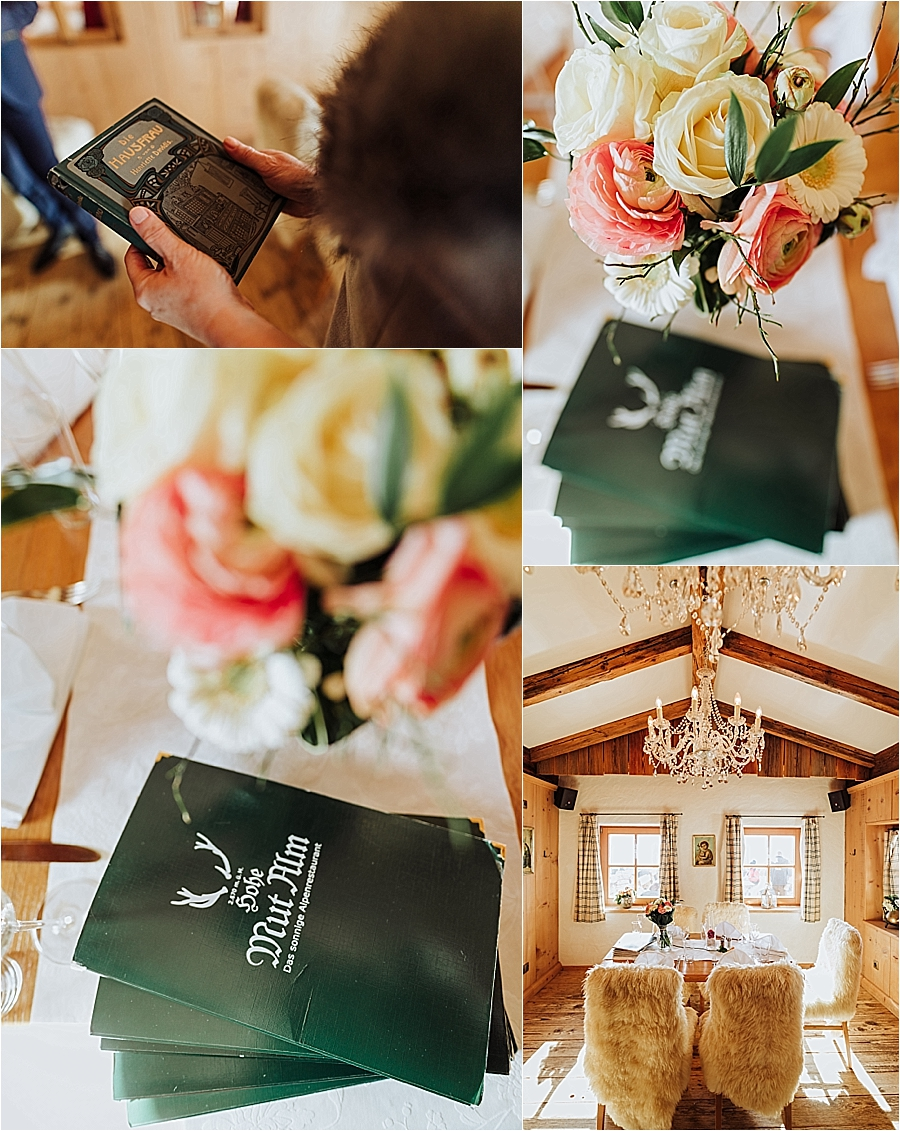 A wedding breakfast in the Hohe Mut Alm in Obergurgl Austria by Wild Connections Photography