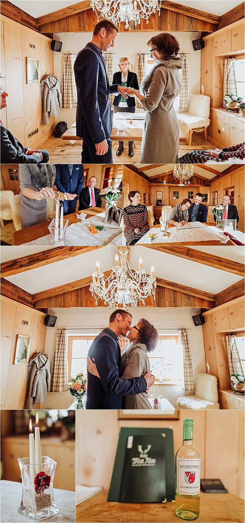 Thr bride & groom exchange rings during their mountain wedding in Austria in the Hohe Mut Alm by Wild Connections Photography