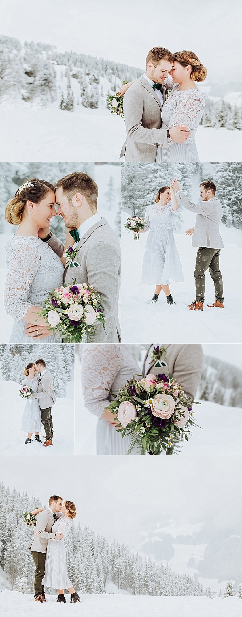 N & F dance around as the snowflakes fall for their winter mountain elopement in Mayrhofen Austria by Wild Connections Photography