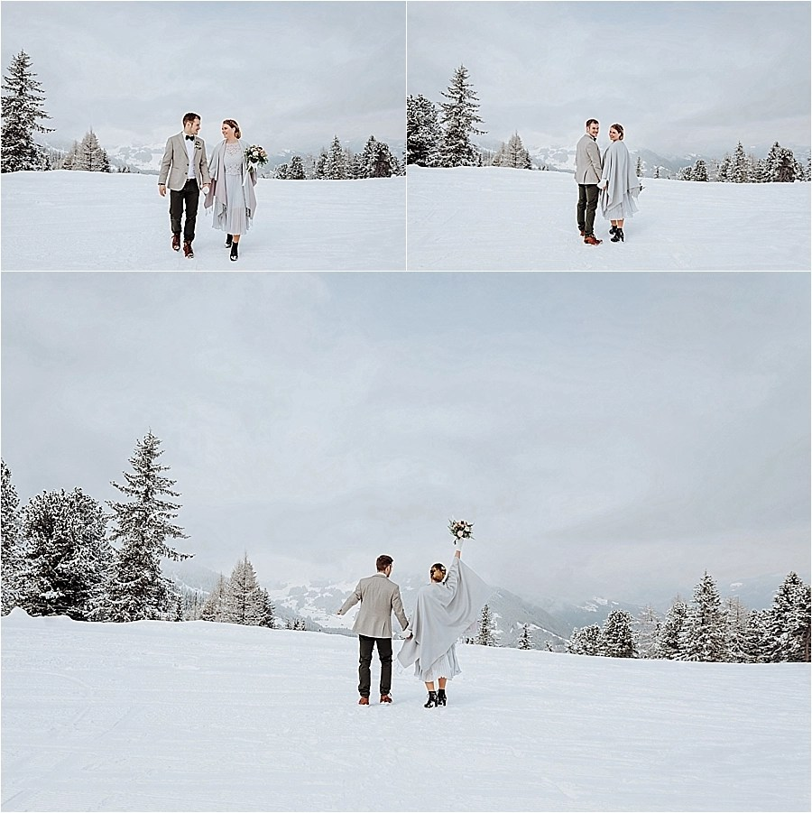 Celebrating their winter mountain elopement in Mayrhofen Austria by Wild Connections Photography