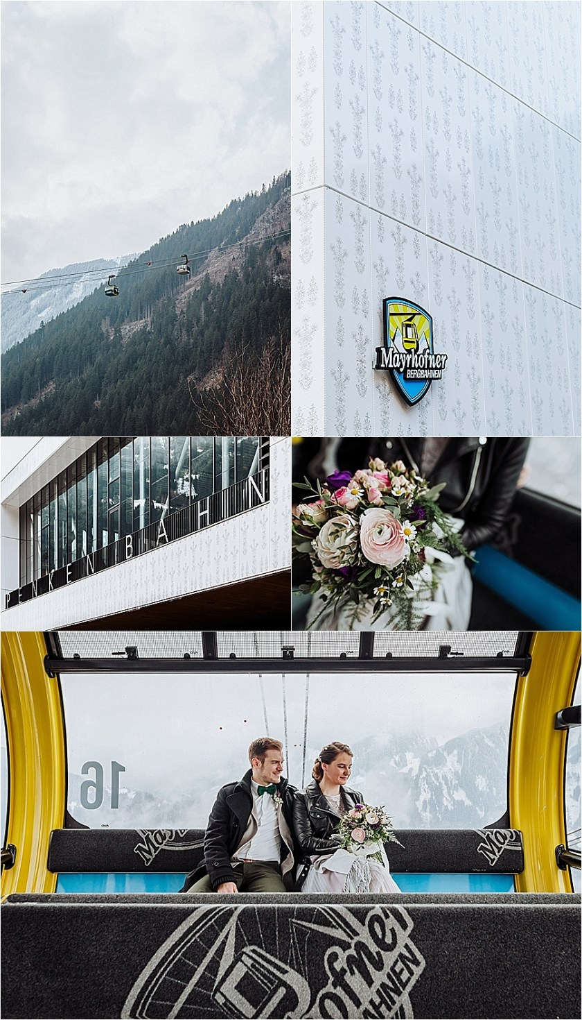 Bride & groom in the Penken cable car for their winter mountain elopement in Mayrhofen Austria by Wild Connections Photography