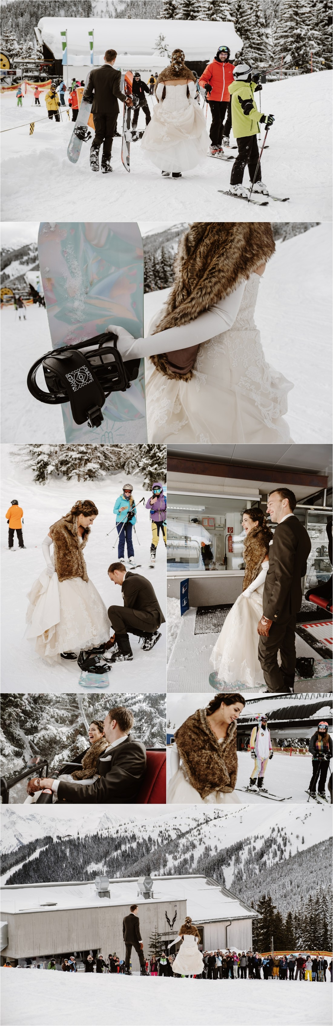 The bride and groom snowboard to their wedding ceremony in Zell Am See Austria by Wild Connections Photography