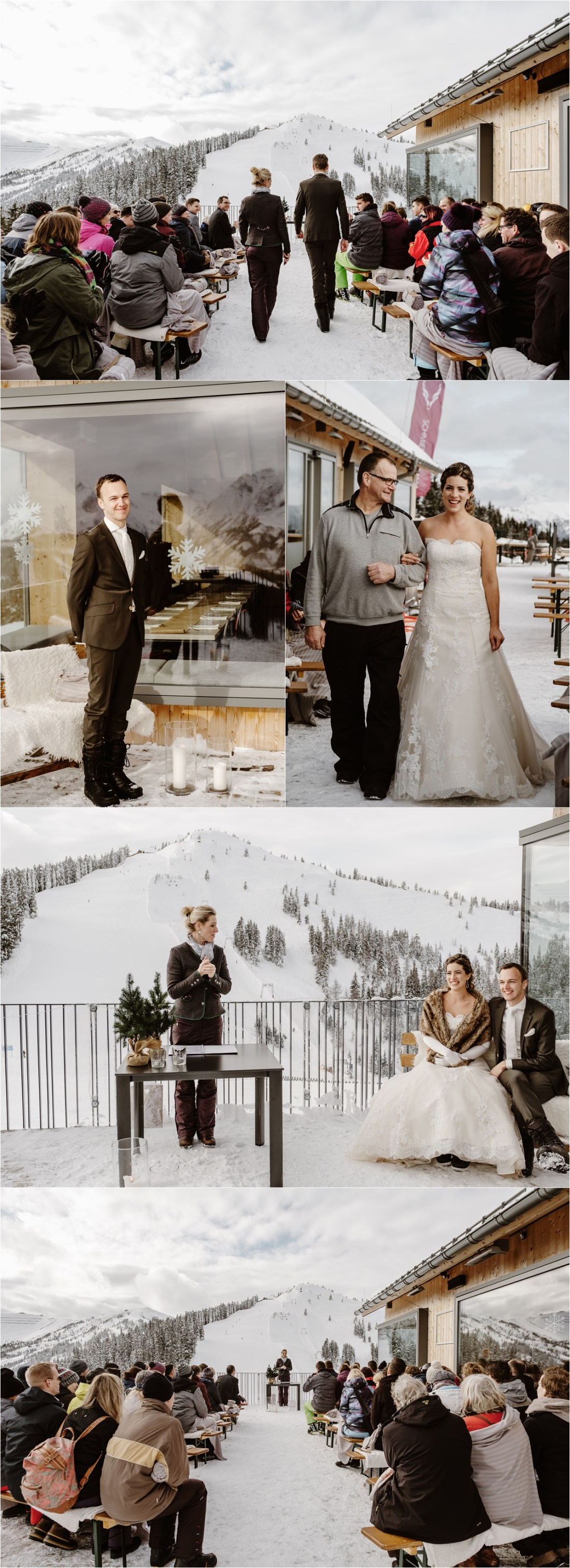 An outdoor winter wedding ceremony at the Schmiedhof alm mountain hut in the Austrian Alps by Wild Connections Photography