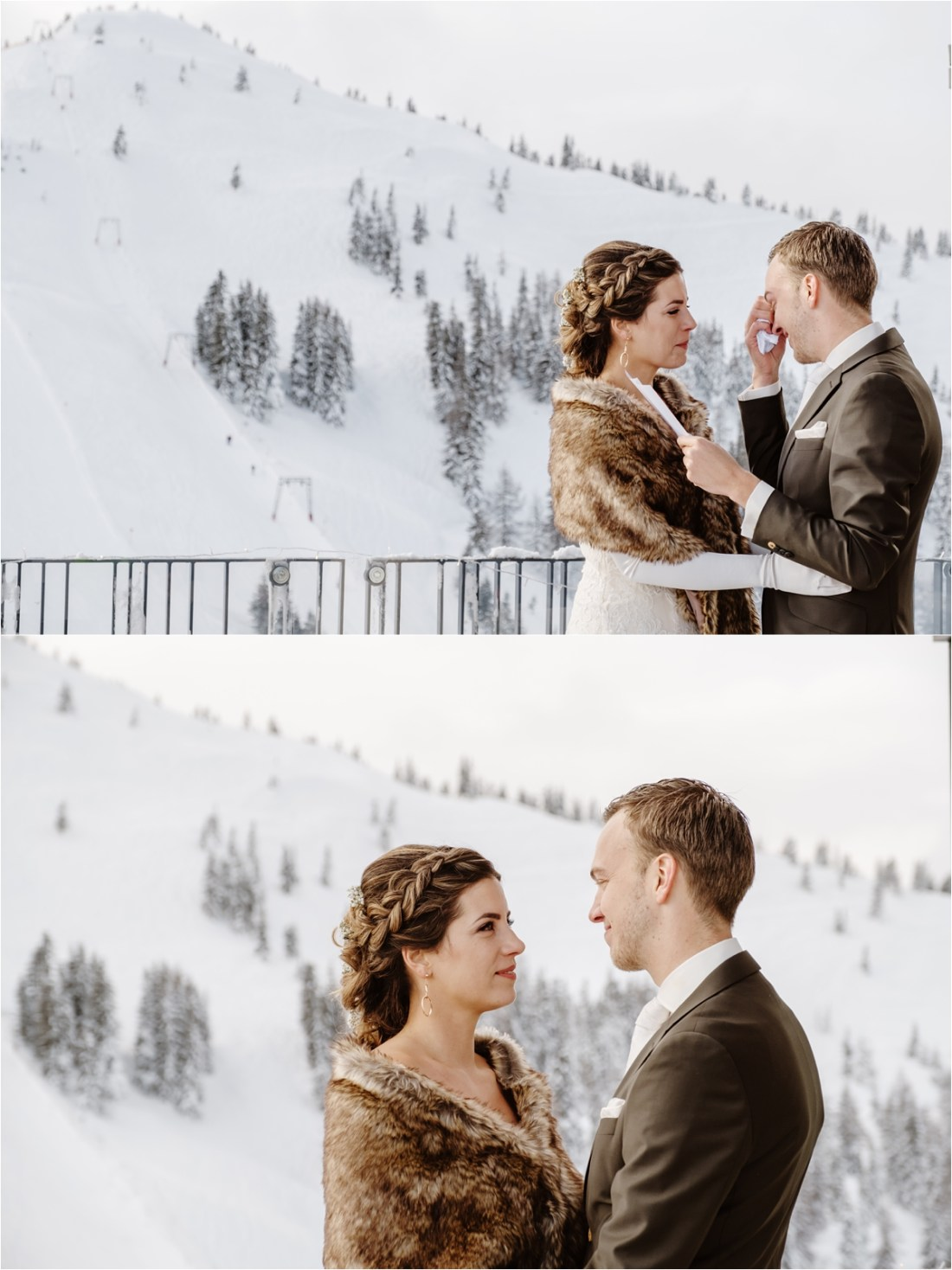 The groom breaks down in tears whilst reading his vows at his winter wedding ceremony in Austria by Wild Connections Photography