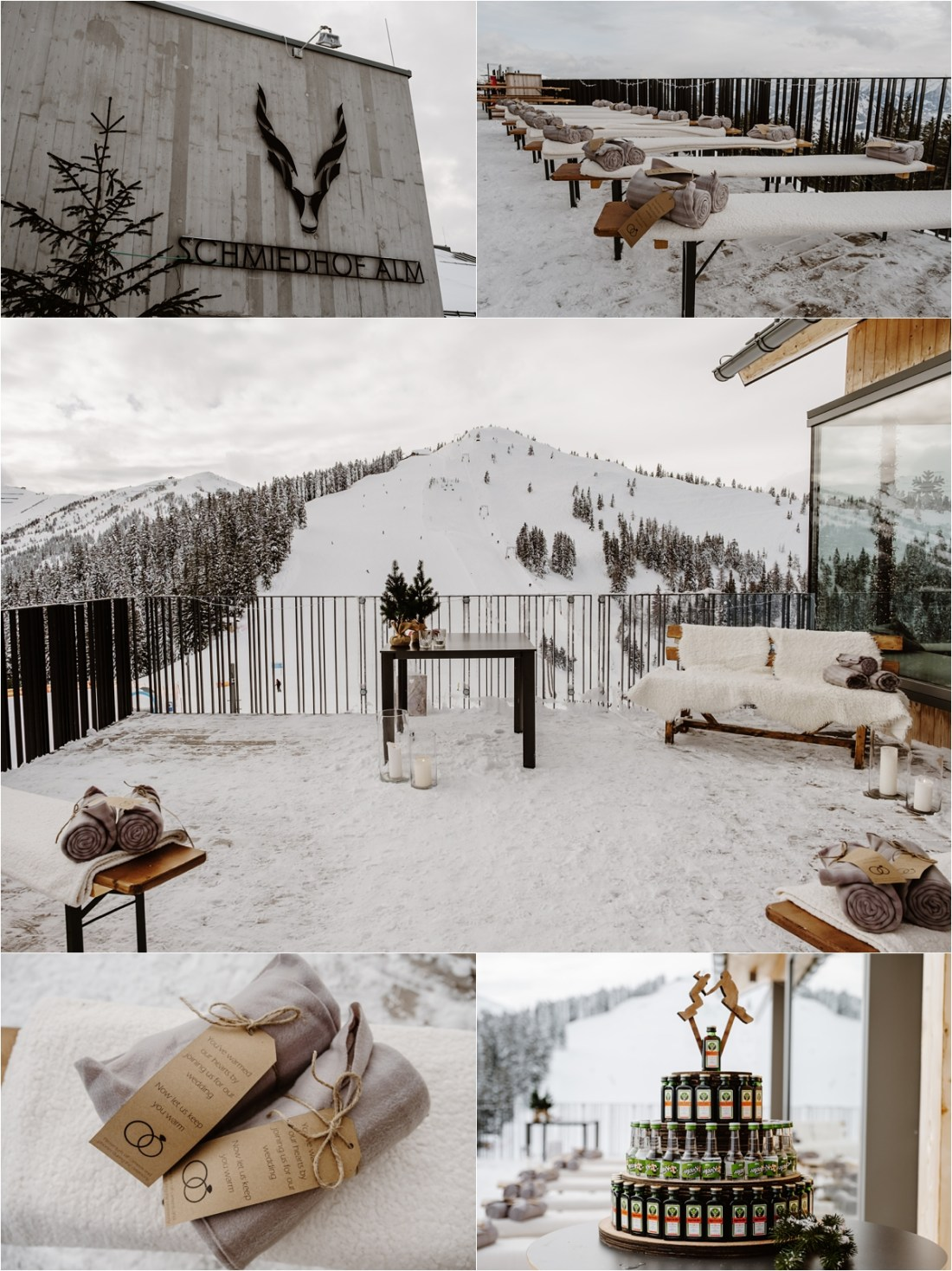 An outdoor winter wedding ceremony at the Schmiedhof Alm in Zell Am See by Wild Connections Photography