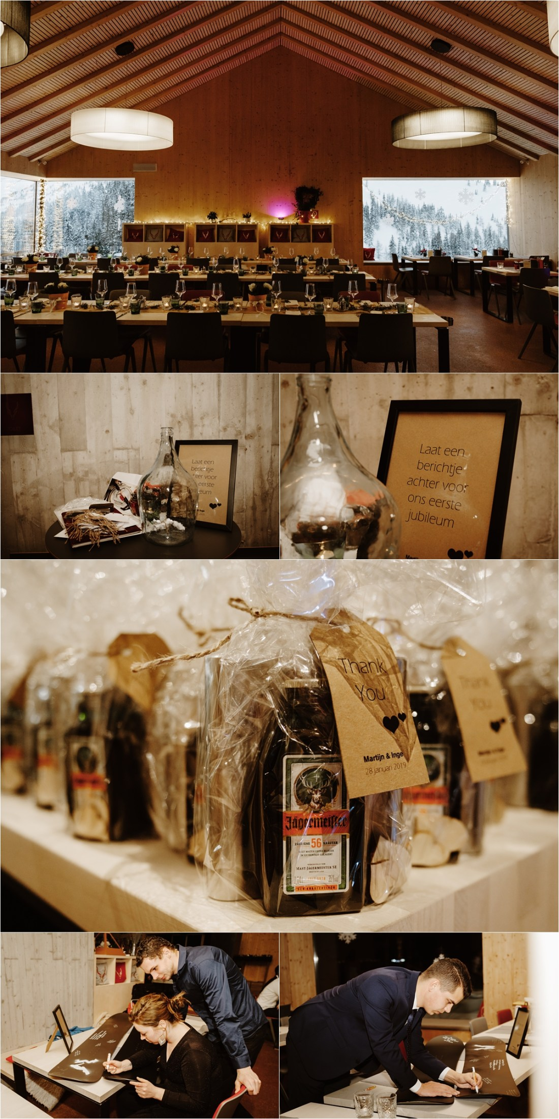 Snowboard wedding reception at the Schmiedhof alm with Jägermeiser wedding favours by Wild Connections Photography