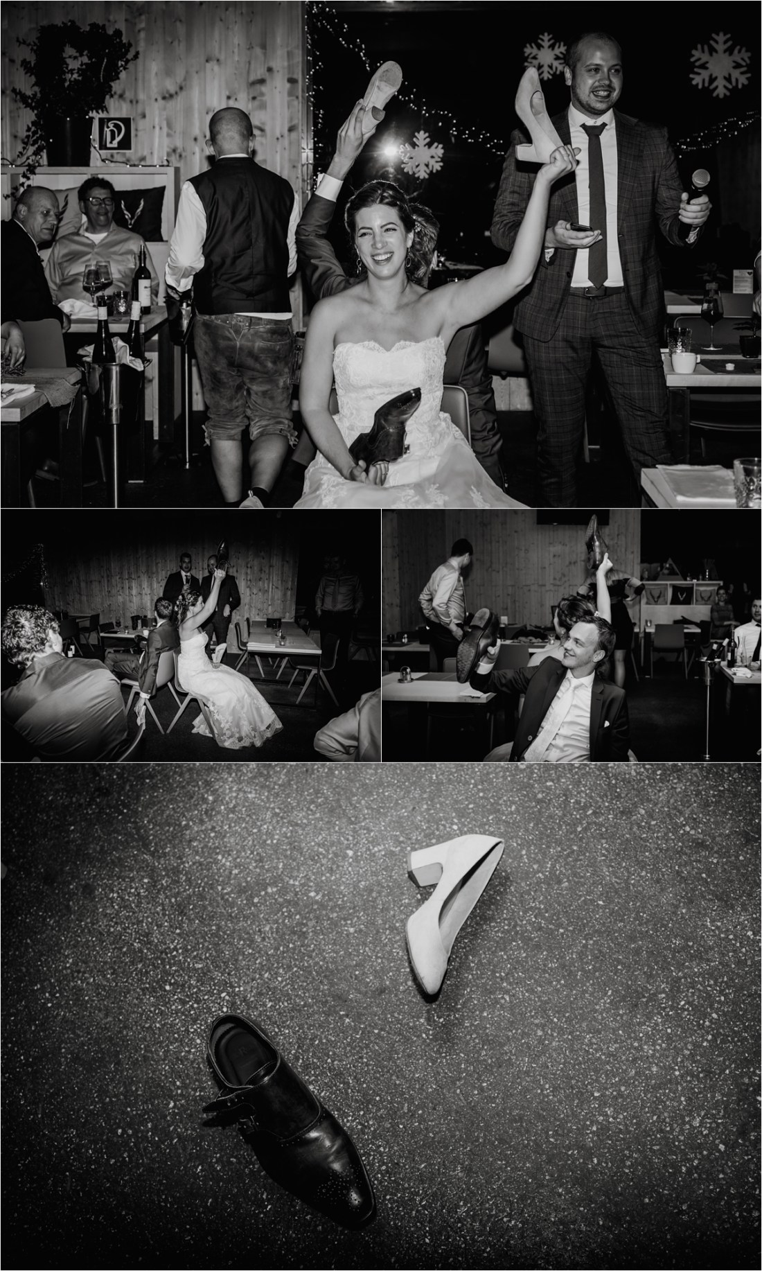 Bride and groom play the shoe game after their wedding dinner at the Schmiedhofalm by Wild Connections Photography