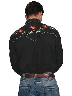 Christmas Poinsettia Mens Scully Black Western Shirt