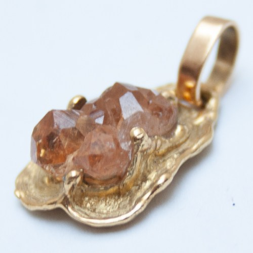 Gold Hessonite Garnet Pendant
