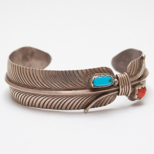 Turquoise Coral Feather Bracelet