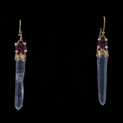 18K Gold Red Garnet Quartz Earrings