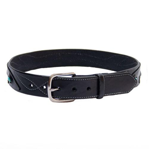 Black Leather Turquoise Belt