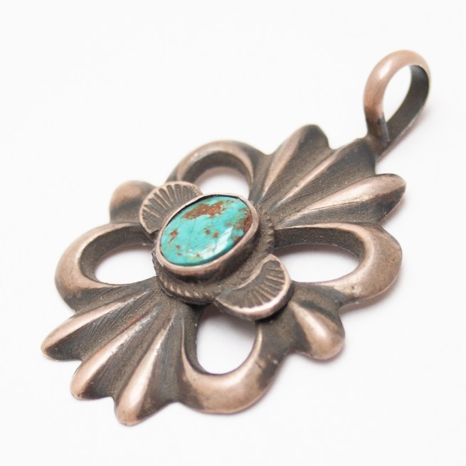 Linda Marble Turquoise Sand Cast Silver Pendant