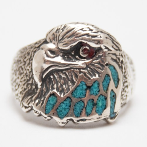 Silver Turquoise Eagle Ring