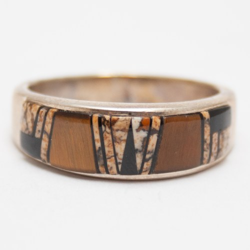 Brown Inlay Zuni Ring