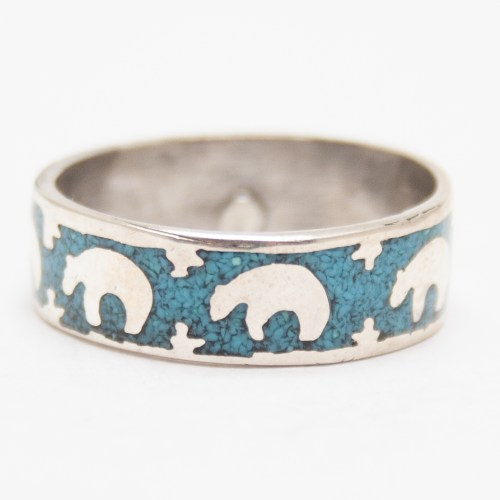 Silver Turquoise Bear Ring